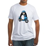 Blue Scooter Penguin Fitted T-Shirt