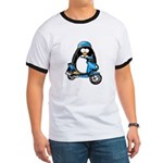 Blue Scooter Penguin Ringer T