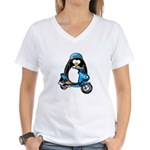 Blue Scooter Penguin Women's V-Neck T-Shirt