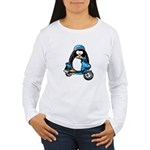 Blue Scooter Penguin Women's Long Sleeve T-Shirt