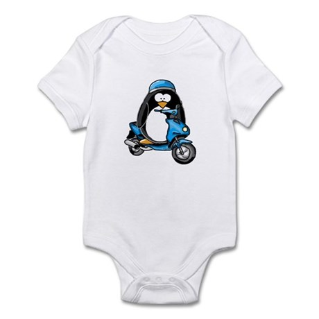 Blue Scooter Penguin Infant Bodysuit