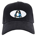 Blue Scooter Penguin Black Cap