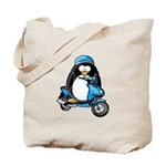 Blue Scooter Penguin Tote Bag
