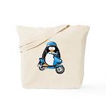 Blue Scooter Penguin Tote Bag