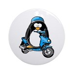 Blue Scooter Penguin Ornament (Round)