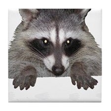Raccoon and Tracks Tile Coaster