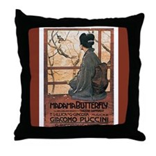 Madame Butterfly Vintage Print Throw Pillow
