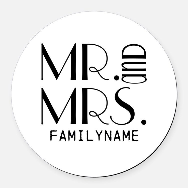 Personalized Mr. Mrs. Round Car Magnet
