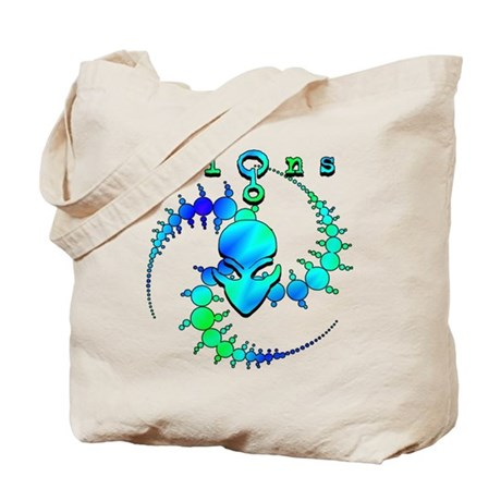 Spiral Crop Circle w/Alien face Green Blue Tote Ba