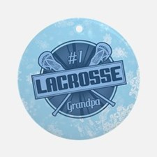 #1 Lacrosse Grandpa Christmas Ornament (round)