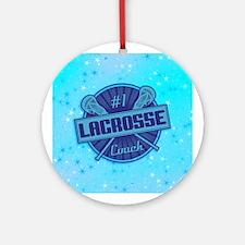 #1 Lacrosse Coach Christmas Ornament (round)
