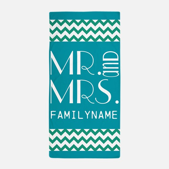 Mr. and Mrs. Chevron Personalized Beach Towel