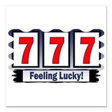 """feeling lucky.png Square Car Magnet 3"""" x 3"""""""