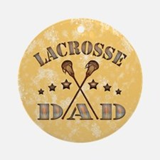 Lacrosse Dad Steampunk Christmas Ornament (round)