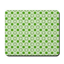 Green Geometric Lattice Pattern Mousepad