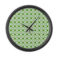Green Geometric Lattice Pattern Large Wall Clock