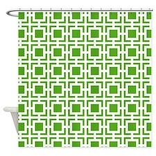 Green Geometric Lattice Pattern Shower Curtain