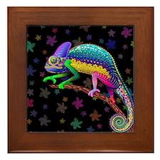 Chameleon Fantasy Rainbow Framed Tile