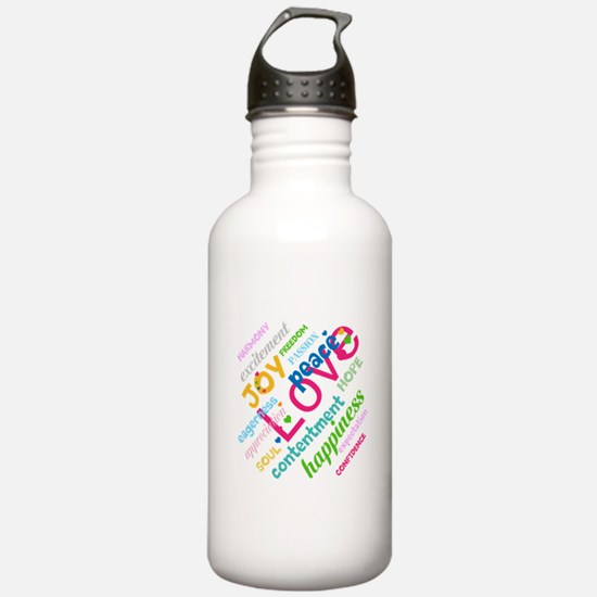 Positive Thinking Text Water Bottle