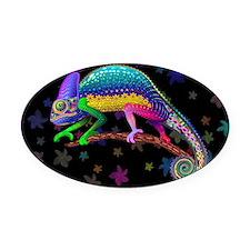 Chameleon Fantasy Rainbow Oval Car Magnet