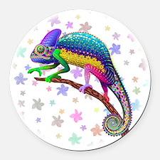 Chameleon Fantasy Rainbow Round Car Magnet
