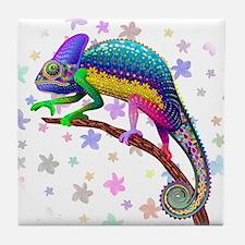 Chameleon Fantasy Rainbow Tile Coaster
