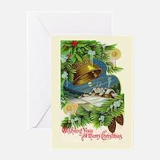 Christmas Bells Vintage Art Greeting Card