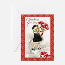 Girl with Poinsettias Greeting Card