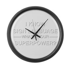 I know sign language (white) Large Wall Clock
