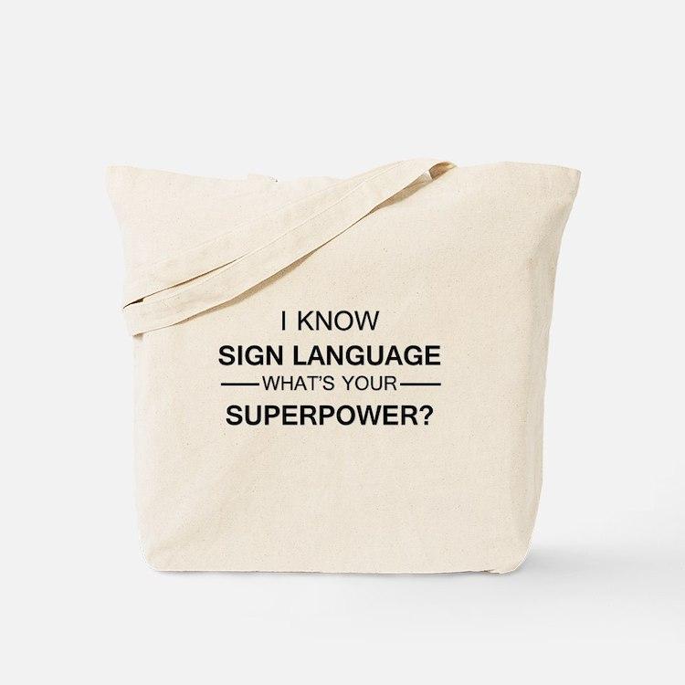 I know Sign Language (black) Tote Bag