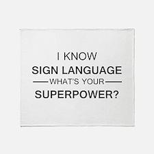 I know Sign Language (black) Throw Blanket