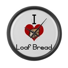 I love-heart loaf bread Large Wall Clock
