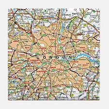 Map of London England Tile Coaster