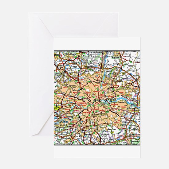 Map of London England Greeting Cards