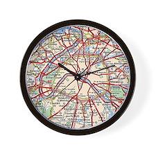 Map of Paris France Wall Clock