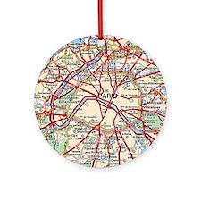 Map of Paris France Ornament (Round)