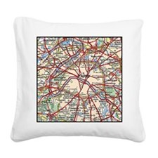 Map of Paris France Square Canvas Pillow