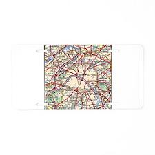 Map of Paris France Aluminum License Plate