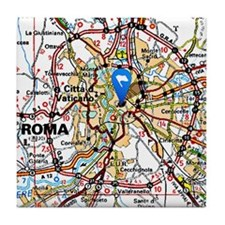 Map of Rome Italy Tile Coaster