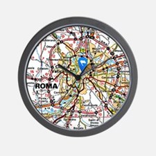 Map of Rome Italy Wall Clock