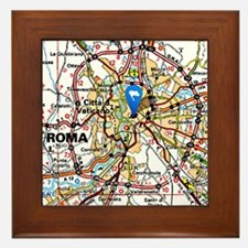 Map of Rome Italy Framed Tile