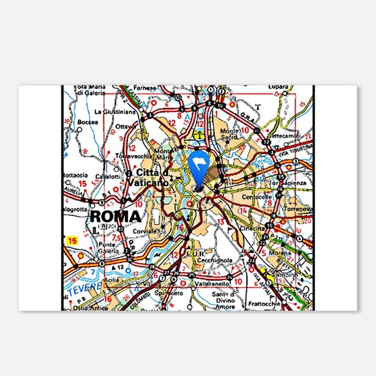 Map of Rome Italy Postcards (Package of 8)