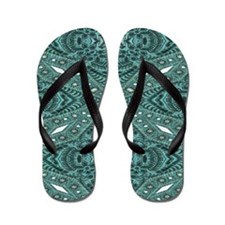 girly chic teal turquoise tooled leath Flip Flops