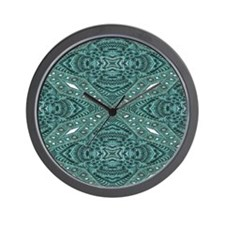 girly chic teal turquoise tooled leath Wall Clock