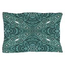 girly chic teal turquoise tooled leat Pillow Case