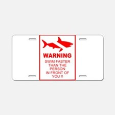 shark warning back copy.png Aluminum License Plate