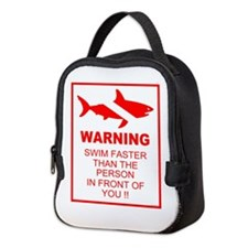 shark warning back copy.png Neoprene Lunch Bag