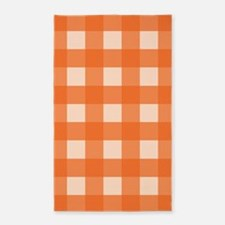 Gingham Check Orange 3'x5' Area Rug