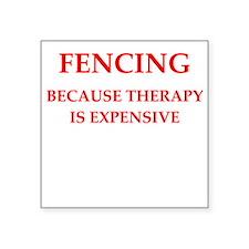 "fencing Square Sticker 3"" x 3"""
