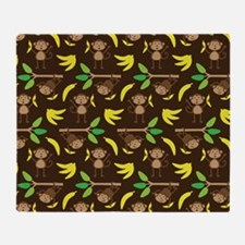 Monkeys Bananas Brown Throw Blanket